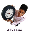 Stock photo  of a businesswoman holding a clock