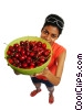 woman holding a bowl of cherries Stock photo