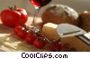 Swiss cheese, tomatoes, bread & wine Stock photo