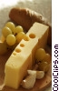 Swiss cheese, grapes, bread and garlic Stock photo