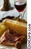 Swiss cheese, grapes, wine, & prosciutto Stock photo