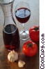 wine with garlic & tomatoes Stock photo