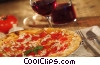 pizza with wine and garlic cloves Stock photo