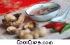 Stock photo  of a Chinese soup with mushrooms, peppers
