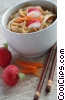 Chinese noodles with chop sticks Stock photo
