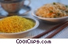 rice dishes with chop sticks and tea Stock photo