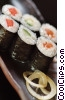 salmon, cucumber & tuna sushi Stock photo
