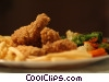 Fried chicken with French fries and vegetables Stock photo