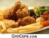 Stock photo  of a Fried chicken with French fries