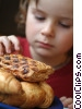 Girl with croissants and pastries Stock photo