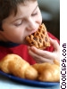 Boy eating a pastry clipart