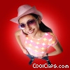Woman smiling with cowboy hat and sunglasses on Stock photo