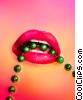 Sexy Mardi Gras lips with green beads Stock photo