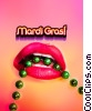 Sexy Mardi Gras lips with green beads and text Stock photo