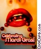 Stock photo  of a Sexy Mardi Gras lips with brown beads