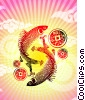 Koi Fish with Good Luck Coins Fine Art graphic