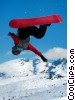 Stock photo  of a Snowboarder Mid-Flight