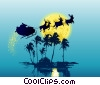 Stock Art graphic  of a Tropical Santa