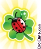 Stock Art image  of a Ladybug and Four Leaf Clover