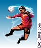 Stock Art graphic  of a Soccer Player Heading Ball