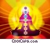 Stock Art picture  of a Lotus Pose with Seven Chakras