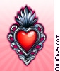 Stock Art graphic  of a Victorian Heart Amulet