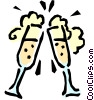 Vector Clip Art image  of a Toasting glasses