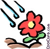 Rain with flowers Vector Clipart illustration