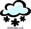 Snowflakes with clouds Vector Clipart picture