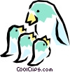 Mother bird with chicks Vector Clipart image
