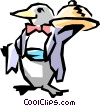 Penguin waiter Vector Clipart graphic