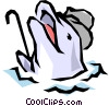 Vector Clipart graphic  of a Dolphins