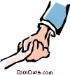 Adult & child holding hands Vector Clipart graphic