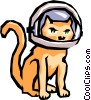 Cat with space helmet Vector Clip Art image