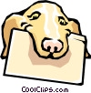 Vector Clip Art picture  of a Dog with file folder