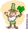 Vector Clipart graphic  of a Leprechaun with shamrock