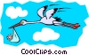 Stork carrying baby Vector Clipart illustration