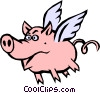 Pig with wings Vector Clipart illustration