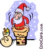 Santa Claus going down the chimney Vector Clipart illustration