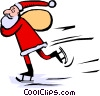 Vector Clipart illustration  of a Santa skating