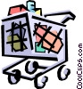 Vector Clip Art graphic  of a Grocery cart