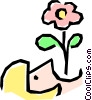 Vector Clip Art graphic  of a Girl symbol with flower