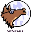 Howling wolf Vector Clipart graphic