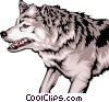 Vector Clipart illustration  of a Growling wolf with mean