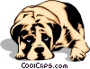 Vector Clipart graphic  of a Sad looking Dog