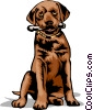 Dog with bone Vector Clipart illustration
