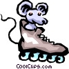 Vector Clip Art image  of a Mouse with roller blades