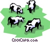 Vector Clip Art graphic  of a Dairy cows