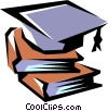 Books with graduation cap Vector Clipart picture