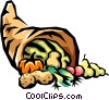 Vector Clip Art image  of a Cornucopia with fall harvest